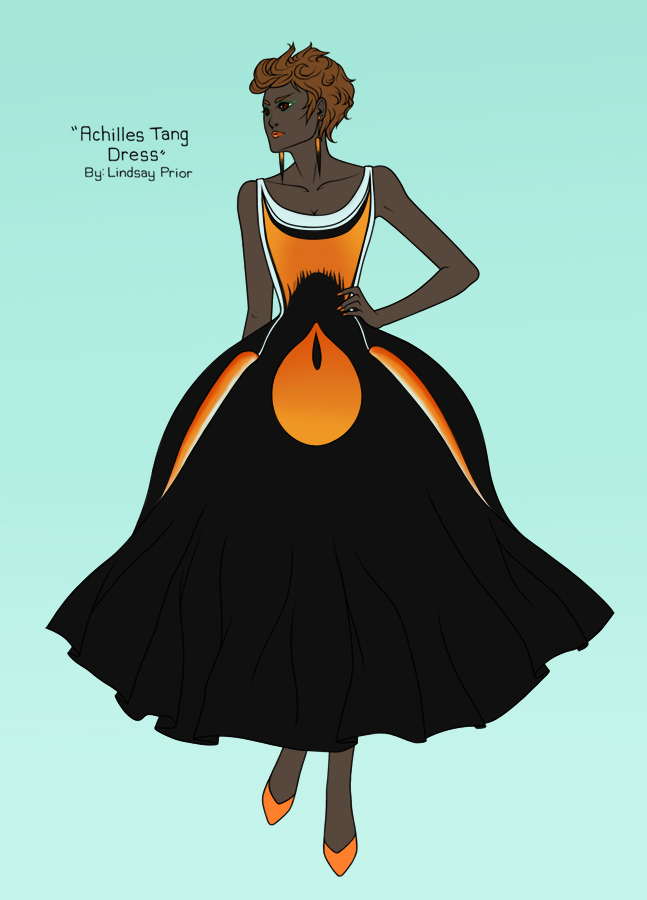 An evening dress design based on the color pattern of the Achilles tang (Acanthurus achilles), by graphic artist and designer Lindsay Prior. (Image Copyright: Lindsay Prior; reposted with permission.)