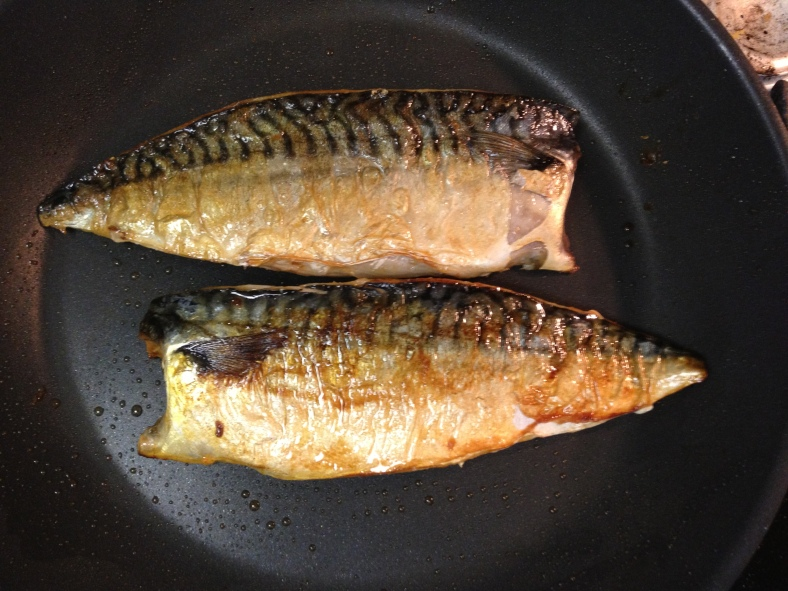 Pan-seared mackerel fillets. No oil needed -- the mackerel carries enough of its own. (Image Credit: Ben Young Landis/CC-BY)