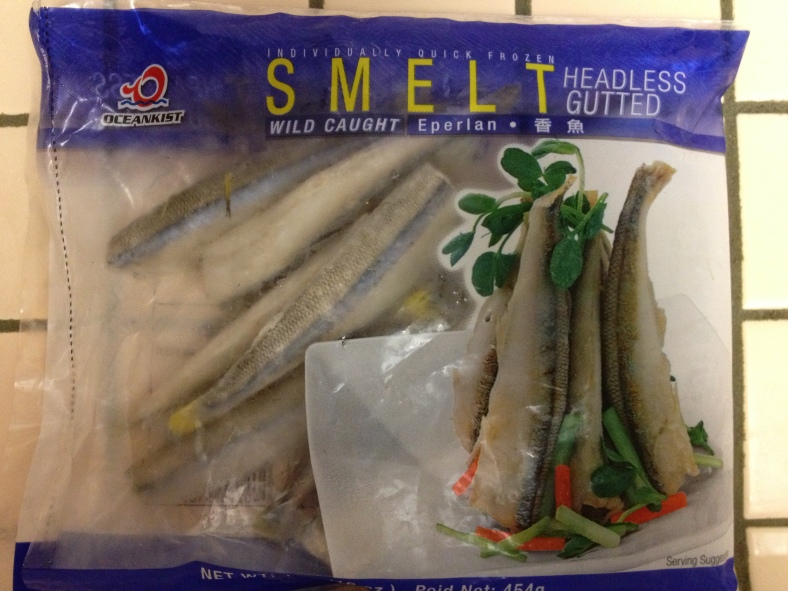Sold as smelt, this is actually a package of Chilean silversides (Odonesthes regia), which is not in the smelt family, Osmeridae. (Image Credit: Ben Young Landis/CC-BY)