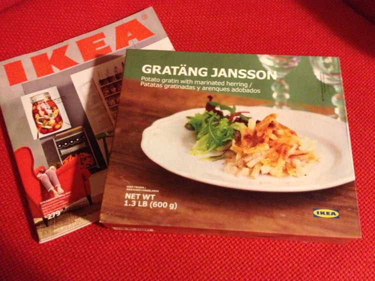 A box of frozen Janssons frestelse sold by IKEA in the United States... set on an IKEA Karlstad chair. (Image Credit: Ben Young Landis/CC-BY)