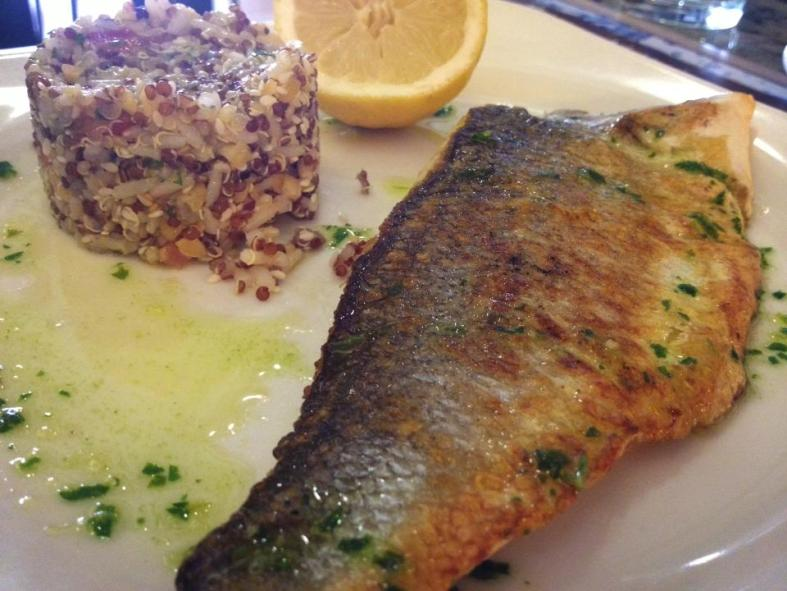 European seabass served at a café in Barcelona, Spain. (Image Credit: Itai Shelem)