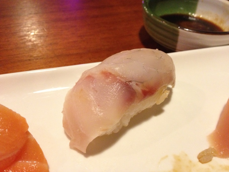 Bronzino served as nigiri sushi at a Japanese restaurant. (Image Credit: Ben Young Landis)